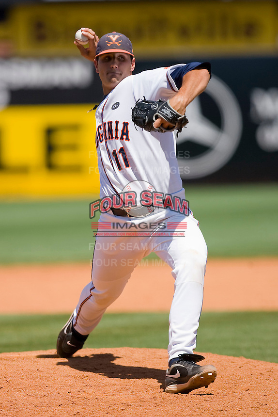 Kevin Arico #11 of the Virginia Cavaliers in action against the Boston College Eagles during Game 1 of the 2010 ACC Baseball Tournament at NewBridge Bank Park May 26, 2010, in Greensboro, North Carolina.  The Cavaliers defeated the Eagles 6-4.  Photo by Brian Westerholt / Four Seam Images