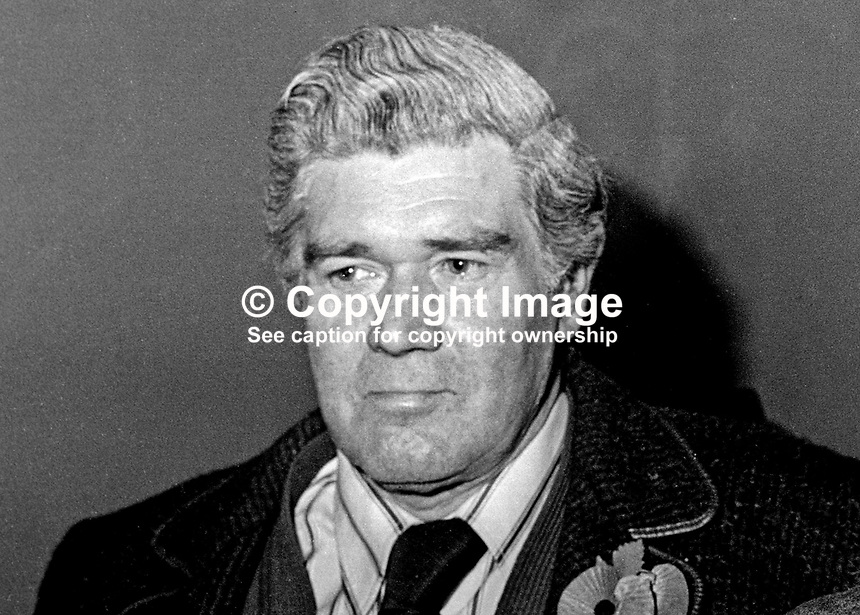 Hugh Petrie, member, ULCCC, Ulster Loyalist Central Co-ordinating Committee, umbrella group, N Ireland, November 1976. 197611110502HP<br />
