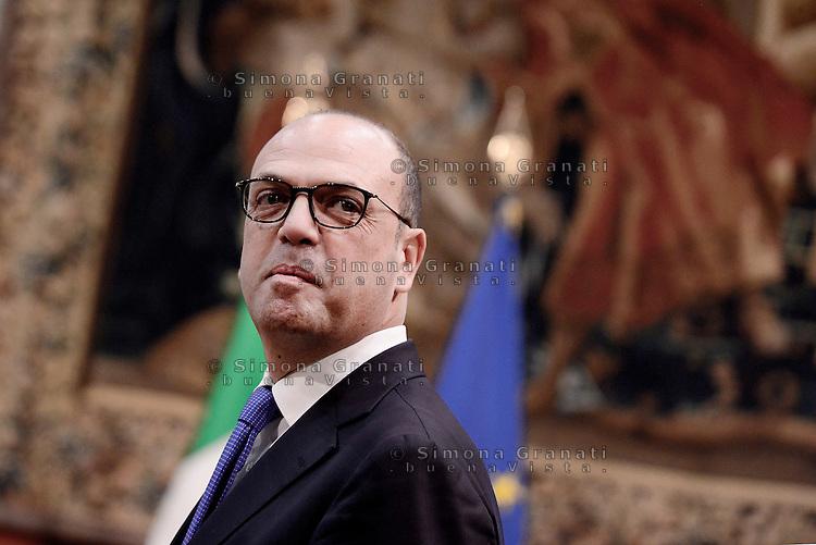Roma, 27 Febbraio 2017.<br /> Angelino Alfano Ministro degli esteri.<br /> Presentazione della Relazione annuale sulla politica dell'informazione per la sicurezza.