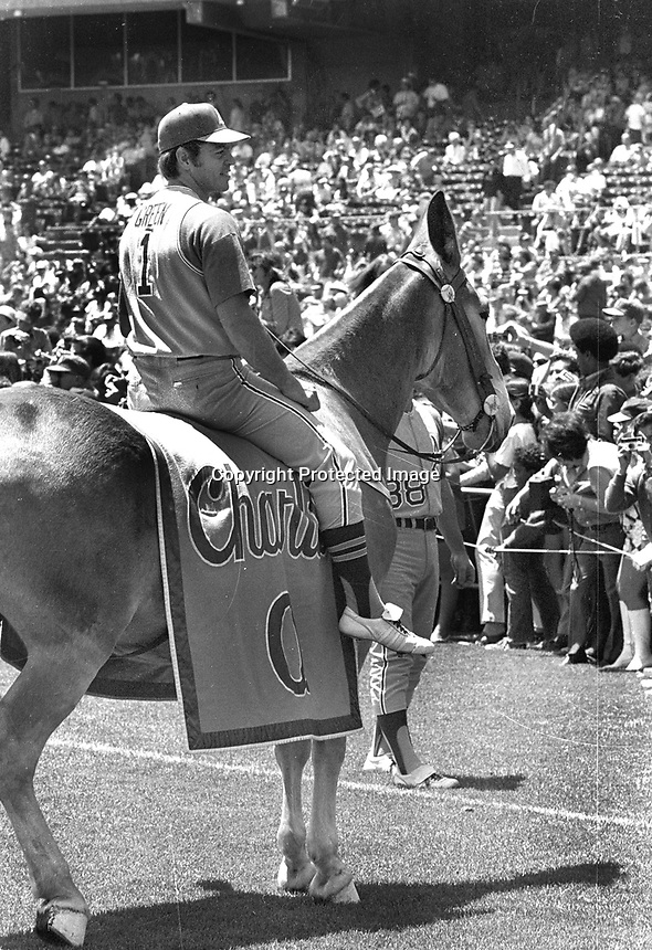 "Oakland Athletics 2nd baseman Dick Green riding Charlie O ""The Mule""...during pre-game at the Oakland Coliseum....(photo 1971/Ron Riesterer)"