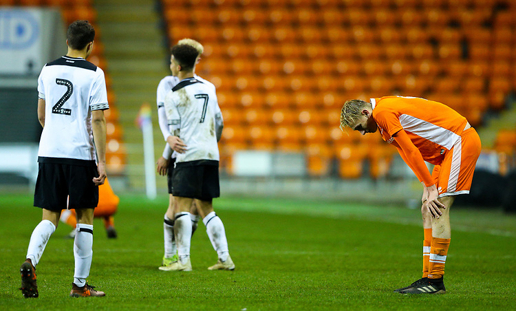 Blackpool's Ewan Bange reacts after the final whistle<br /> <br /> Photographer Alex Dodd/CameraSport<br /> <br /> The FA Youth Cup Third Round - Blackpool U18 v Derby County U18 - Tuesday 4th December 2018 - Bloomfield Road - Blackpool<br />  <br /> World Copyright © 2018 CameraSport. All rights reserved. 43 Linden Ave. Countesthorpe. Leicester. England. LE8 5PG - Tel: +44 (0) 116 277 4147 - admin@camerasport.com - www.camerasport.com