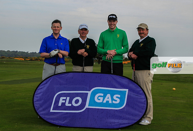Greg Allen (RTE), Albert Lee (Hon. Sec. G.U.I ), Robin Dawson (Waterford) and Kevin McIntyre (President G.U.I ) during the Flogas Irish Amateur Open Championship Am-Am at Royal Dublin on Monday 9th May 2016.<br /> Picture:  Thos Caffrey / www.golffile.ie