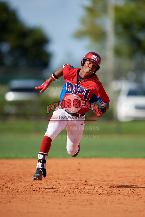 Yendry Rojas (5) during the Dominican Prospect League Elite Florida Event at Pompano Beach Baseball Park on October 14, 2019 in Pompano beach, Florida.  (Mike Janes/Four Seam Images)