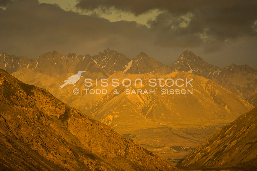 Dawn light on the Two Thumb Range, Rangitata Valley, Canterbury New Zealand.