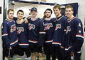 Dave Warsofsky (USA - 5), Ryan Bourque (USA - 17), Danny Kristo (USA - 8), Kyle Palmieri (USA - 23), Cam Fowler (USA - 24), Matt Donovan (USA - 4) - Team USA defeated Team Finland 6-2 on Saturday, January 2, 2010, at Credit Union Centre in Saskatoon, Saskatchewan during the 2010 World Juniors quarterfinals.