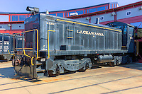 EMC SC diesel switcher in Lackawanna livery on the roundhouse tracks at the Steamtown National Historic Site in Scranton, Pennsylvania