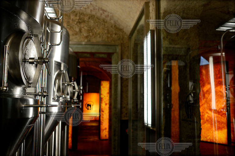 Brewing machinery in a resturant at the Moritz (a Catalan beer company) brewery. /Felix Features
