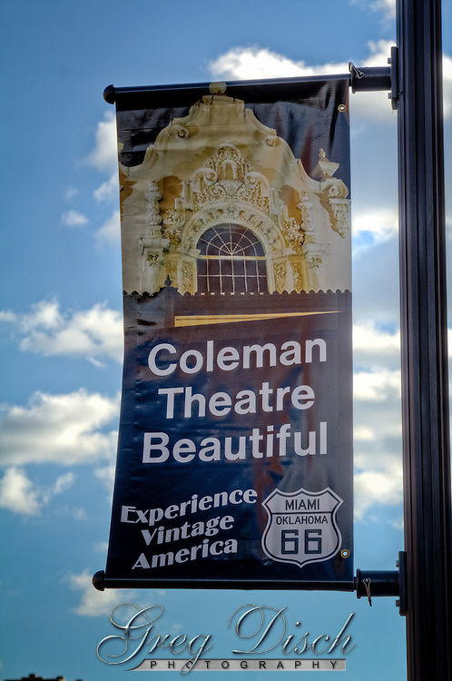 """The Coleman Theatre has been catching the eye of visitors on Route 66 since 1929. Built as a vaudeville theater and movie palace it hosted appearances by many early stars including Will Rogers, Bob Hope and Bing Crosby. The historic structure was donated to the city of Miami by the Coleman family in 1989. It has been restored to its original style including the return of the """"Mighty Wurlitzer"""" pipe organ. Today, the theatre hosts ballets, theatre performances, receptions, conferences and silent movies"""