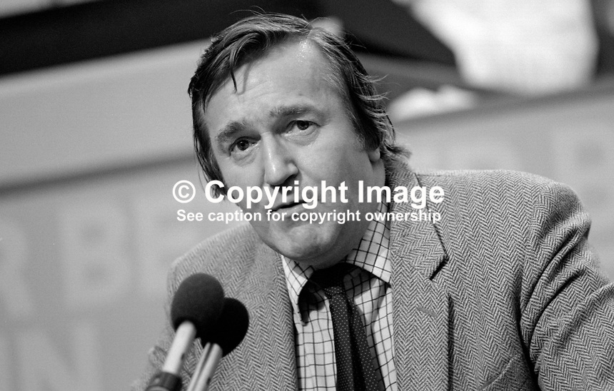 Ted Knight, Labour Party leader, Lambeth Council, London, UK, speaking, annual conference, Blackpool. 19840174TK1.<br /> <br /> Copyright Image from Victor Patterson,<br /> 54 Dorchester Park, <br /> Belfast, UK, BT9 <br /> <br /> t1: +44 28 9066 1296 (from Rep of Ireland 048 90661296)<br /> t2: +44 28 9002 2446 (from Rep of Ireland 048 9002 2446)<br /> <br /> m: +44 7802 353836<br /> <br /> e: victorpatterson@me.com<br /> www.victorpatterson.com<br /> <br /> Please see my Terms and Conditions of Use at www.victorpatterson.com. It is IMPORTANT that you familiarise yourself with them.<br /> <br /> Images used on the Internet must be visibly watermarked i.e. &copy; Victor Patterson<br /> within the body of the image and copyright metadata must not be deleted. Images <br /> used on the Internet have a size restriction of 4kbs and will be chargeable at current<br />  NUJ rates unless agreed otherwise.<br /> <br /> This image is only available for the use of the download recipient i.e. television station, newspaper, magazine, book publisher, etc, and must not be passed on to any third <br /> party. It is also downloaded on condition that each and every usage is notified within 7 days to victorpatterson@me.com<br /> <br /> The right of Victor Patterson to be identified as the author is asserted in accordance with The Copyright Designs And Patents Act (1988). All moral rights are asserted.