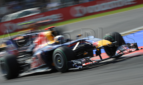 German driver Sebastian Vettel of Red Bull drives his car along a curve during the 2010 Formula One Italian Grand Prix at the Autodromo Nazionale in Monza, Italy.
