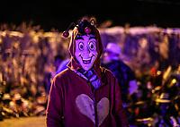 retrato de Fariseo vestido de el Chapulin Colorado, Chespirito. Fariseos con mascaras deminiacas y disfraces alinigenas y demonios, durante la celebraciones de cuaresma, Semana Santa en la colonia Coloso Alto...<br /> Portrait of Pharisee dressed in the Colorado Chapulin, Chespirito. Pharisees with deminiacal masks and aliigeni disguises and demons, during the celebrations of Lent, Holy Week in the Colossus Colony ...<br /> (Photo:Luis Gutierrez/NortePhoto)
