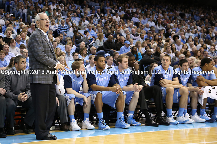 31 December 2013: UNC head coach Roy Williams. The University of North Carolina Tar Heels played the UNC Wilmington Seahawks at the Dean E. Smith Center in Chapel Hill, North Carolina in a 2013-14 NCAA Division I Men's Basketball game. UNC won the game 84-51.