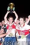 Daniel Doyle (Capt St Brendans) lifts the Credit Union Duhallow Invitational Cup after defeating Ballincollig in Knocknagree last Saturday night..