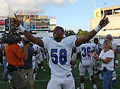 Armwood Hawks defensive lineman Byron Cowart #58 celebrates after the Florida High School Athletic Association 6A Championship Game at Florida's Citrus Bowl on December 17, 2011 in Orlando, Florida.  Armwood defeated Miami Central 40-31.  (Photo By Mike Janes Photography)