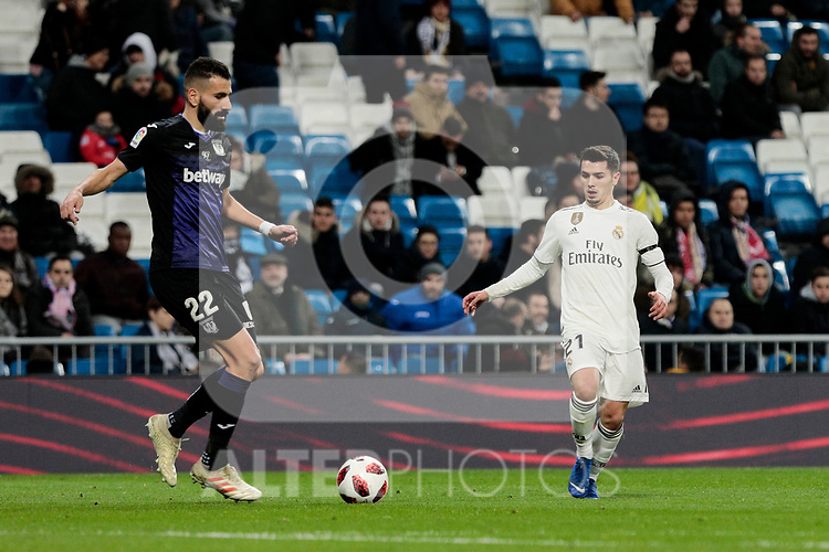 Real Madrid's Brahim Diaz and CD Leganes's Dimitrios Siovas during Copa Del Rey match between Real Madrid and CD Leganes at Santiago Bernabeu Stadium in Madrid, Spain. January 09, 2019. (ALTERPHOTOS/A. Perez Meca)