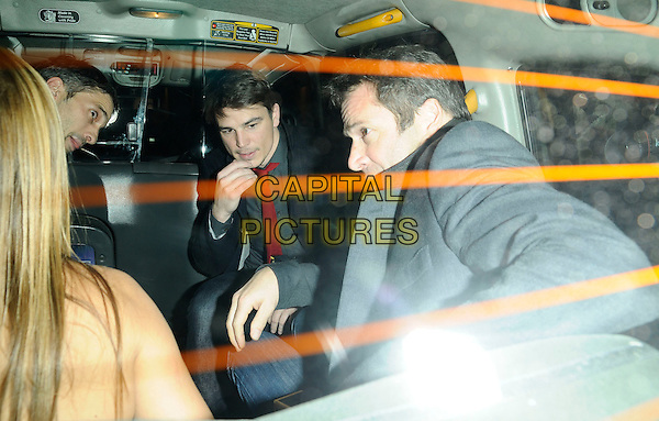 JOSH HARTNETT & JAMES PUREFOY .At the Hollywood Domino game VIP launch, Mossimann's restaurant, London, England, November 7th 2008..half length jeans red tie in cab taxi car sitting .CAP/CAN.©Can Nguyen/Capital Pictures