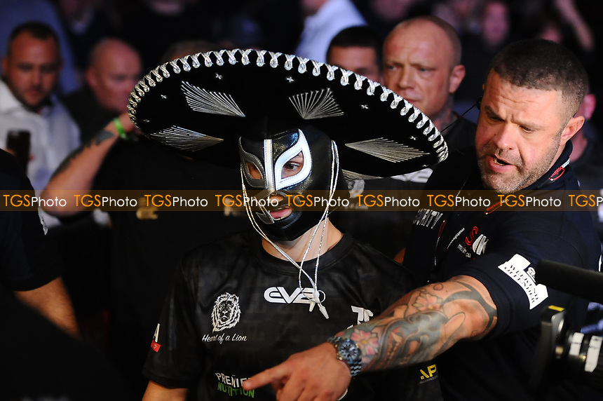 Joseph Laws during his ring walk during a Boxing Show at the Metro Radio Arena on 13th October 2018
