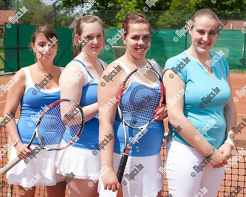 19/05/2012 ; tennis ; TC De Lusthoven ; Dames 4 ; Andrea Huijskens , Dorien Sanders , Vie De Proost , Alix De Proost
