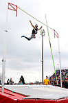 "SIOUX FALLS, SD - MAY 3:  Kevin Sarehkhani jumping unattached clears 13' 6"" in the pole vault Saturday at the 2014 Howard Wood Dakota Relays. (Photo by Dave Eggen/Inertia)"