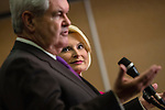 Callista Gingrich looks on as her husband Newt Gingrich speaks at a news conference announcing he is suspending his campaign for the Republican nomination for president on Wednesday, May 2, 2012 in Arlington, VA.