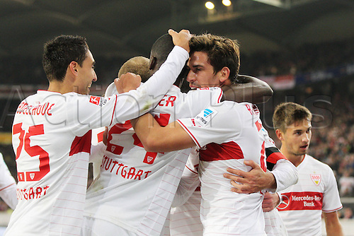 29.01.2014 Stuttgart, Germany.  Vedad Ibisevic celebrates his goal during the Bundesliga game between VfB Stuttgart v Bayern Munich from the Gottlieb Daimler Stadion.