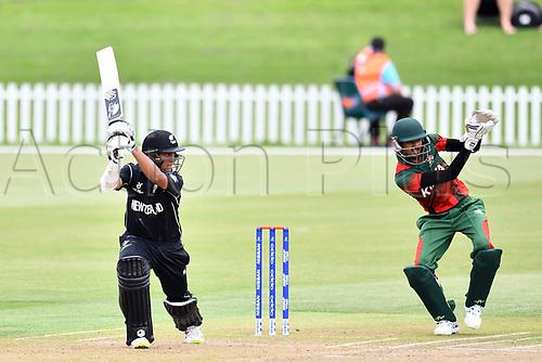 17th January 2018, Hagley Oval, Christchurch, New Zealand; Under 19 Cricket World Cup, New Zealand versus Kenya;  New Zealand's opening batsman Rachin Ravindra in action