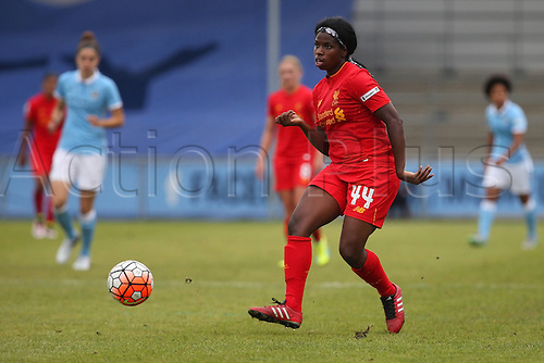 26.06.2016. The Academy Stadium, Manchester, England. FA Womens Super League. Manchester City versus Liverpool. Satara Murray of Liverpool plays the ball forward.