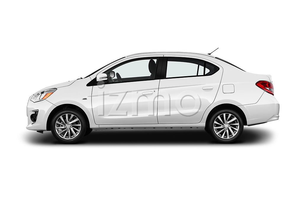 Car Driver side profile view of a 2017 Mitsubishi Mirage-G4 SE-CVT 4 Door Sedan Side View