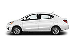 Car Driver side profile view of a 2018 Mitsubishi Mirage-G4 SE-CVT 4 Door Sedan Side View