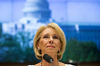 United States Secretary of Education Betsy Devos testifies on her department's fiscal year 2020 budget before the US House Committee on Education and Labor on Capitol Hill in Washington, DC on April 10, 2019. Photo Credit: Stefani Reynolds/CNP/AdMedia