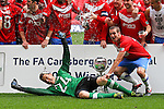 LONDON, ENGLAND - MAY 12: Michael Ingham (c) of York City celebrates with his team after they beat Newport County during the FA Trophy Final match between York City and Newport County at Wembley Stadium on May 12, 2012 in London, England.(Photo by Dave Horn - Extreme Aperture Photography)