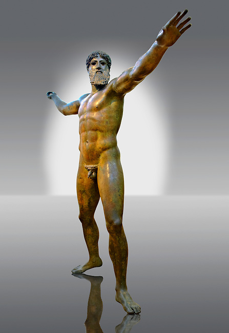 Greek Classical Period Bronze Statue of Zeus or Poseidon found in the sea of Cape Artemision of the north Eastern Euboea Island, Greece.  The God is shown in a great stride about to throw either a trident of a thunderbolt that is now missing from his right hand. The statue is one of the only preserved statues of the preserved style with exquisite rendering of motion & anatomy. The identity of the statue is controversial and is probably more likely to be Zeus rather than Poseidon. 460 BC Ref No X15161 Athens Archaeological Museum