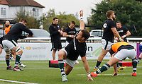 Ealing's Joe Munro warms up during the Greene King IPA Championship match between Ealing Trailfinders and Bedford Blues at Castle Bar , West Ealing , England  on 29 October 2016. Photo by Carlton Myrie / PRiME Media