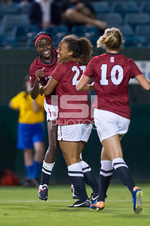 STANFORD, CA - SEPTEMBER 18: Marjani Hing-Glover and Chioma Ubogagu celebrate Hing-Glover's goal as Stanford defeats Santa Clara 2-0 in a women's soccer match on September 18, 2011 in Santa Clara, California.