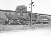 Left side view of K-27 #454 beside engine house.<br /> D&amp;RGW  Montrose, CO