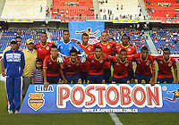 BARRANQUIILLA -COLOMBIA-21-09-2014. Jugadores de Uniauntónoma posan para una foto previo al encuentro con Atlético Nacional  por la fecha 10 de la Liga Postobón II 2014 jugado en el estadio Metropolitano de la ciudad de Barranquilla./ Players of Uniautonoma pose to a photo prior the match against Atletico Nacional for the 10th date of the Postobon League II 2014 played at Metropolitano stadium in Barranquilla city.  Photo: VizzorImage/Alfonso Cervantes/STR