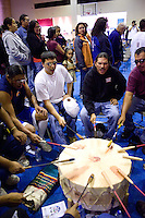 Arapaho tribe Eagle Society ceremonial drummers play at the inauguration of a new language immersion school on the Wind River Indian Reservation in central Wyoming, Friday, Oct. 3, 2008. Northern Arapaho tribal leaders hope the inauguration of the larger new Arapaho Language Lodge immersion school at the reservation will help kids find a better cultural identity and strengthen them better succeed in education. (Kevin Moloney for the New York Times)
