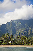 Beachside home in Hanalei Bay with Namolokama Mountain in the background