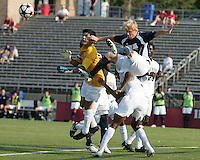 04 September 2009: Steven Perry #11 of the University of Notre Dame goes up for a cross with Akira Fitzgerald #1 of Wake Forest University during an Adidas Soccer Classic match at the University of Indiana in Bloomington, In. The game ended in a 1-1 tie..