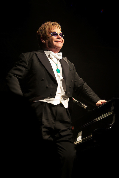Elton John performs during his White Tie and Tiara Ball