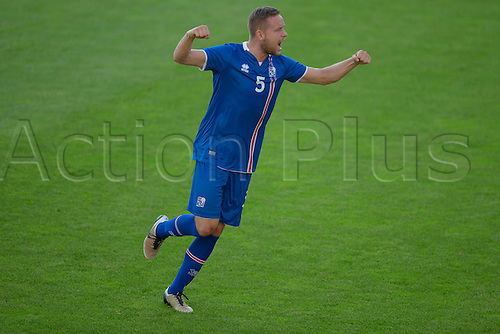 01.06.2016  Ullevaal Stadion, Oslo, Norway.  Sverrir Ingi Ingason of Iceland  celebrates scoring his goal during the International Football Friendly match between Norway versus Iceland at the Ullevaal Stadion in Oslo, Norway.