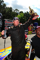 May 6, 2012; Commerce, GA, USA: NHRA  super gas driver XXXX celebrates after winning the Southern Nationals at Atlanta Dragway. Mandatory Credit: Mark J. Rebilas-