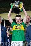 Kerry Captain Sean O'Shea after defeating Cork in the Munster Minor Football Final in Fitzgerald Stadium, Killarney on Sunday last.