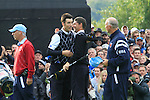 Padraig Harrington and Ross Fisher after winning their match on the 17th green in the Session 3 Foursomes and Fourball Matches during Day 3 of the The 2010 Ryder Cup at the Celtic Manor, Newport, Wales, 3rd October 2010..(Picture Eoin Clarke/www.golffile.ie)