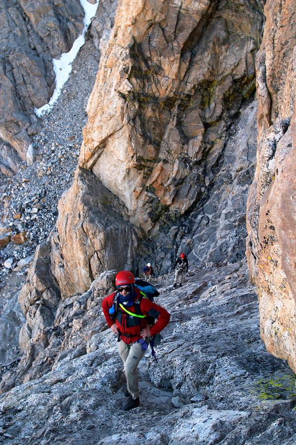Climber on Wall Street on the Grand Teton, Grand Teton National Park, Teton County, Wyoming, USA