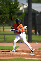 GCL Astros Yimmi Cortabarria (17) at bat during a Gulf Coast League game against the GCL Mets on August 10, 2019 at FITTEAM Ballpark of the Palm Beaches Training Complex in Palm Beach, Florida.  GCL Astros defeated the GCL Mets 8-6.  (Mike Janes/Four Seam Images)