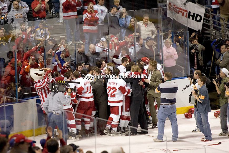 MILWAUKEE, WI - APRIL 8: The Wisconsin Badgers celebrate their victory against the Boston College Eagles during the NCAA Frozen Four Finals on April 8, 2006 at the Bradley Center in Milwaukee, Wisconsin. Wisconsin beat Boston College 2-1. (Photo by David Stluka)