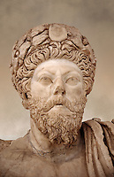 Roman sculpture of the Emperor Marcus Aurelius, excavated from Bulla Regia Theatre, sculpted circa late second century. The Bardo National Museum, Tunis.