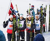 16th March 2019, Ostersund, Sweden; IBU World Championships Biathlon, day 8, mens relay; Lars Helge Birkeland (l-r), Vetle Sjaastad Christiansen, Tarjei Bö and Johannes Thingnes Bö celebrate