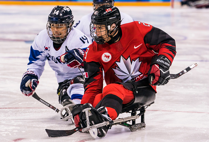 PyeongChang 15/3/2018 - Liam Hickey (#23), of St. John's, NL, as Canada takes on Korea in semifinal hockey action at the Gangneung Hockey Centre during the 2018 Winter Paralympic Games in Pyeongchang, Korea. Photo: Dave Holland/Canadian Paralympic Committee